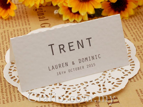 Personalized White Wedding Place Card