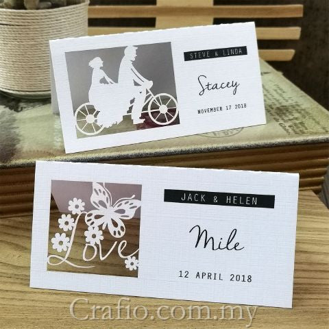 Personalized Laser Cut White Wedding Place Cards/Seating Cards