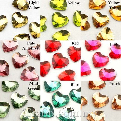 10 mm Prism Cut Heart Rhinestones