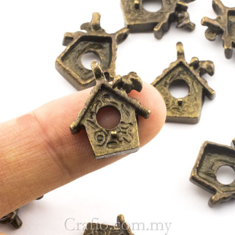 Tibetan Antique Bronze Bird House Charm Pendant