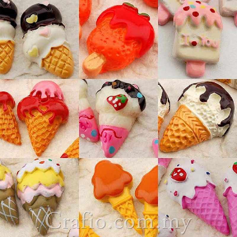 Ice Cream Mix Resin Cabochon