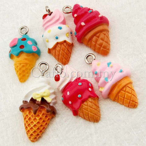 Ice Cream Cone Resin Cabochon with Eye Bolt