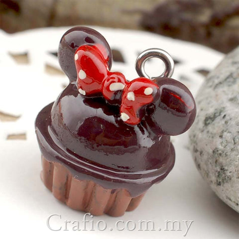 Chocolate Minnie Cupcake Resin Cabochon with Eye Bolt