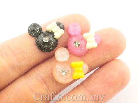 Cabochon Resin Mouse with Rhinestone
