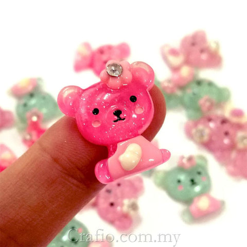 Cabochon Resin Seated Teddy Bear