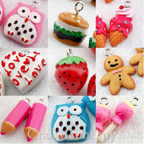 Cabochon Resin Mixed Owl/ Burger/ Ice Cream/ Heart/ Strawberry/ Gingerbread/ Pencil/ Candy with Eye Bolt