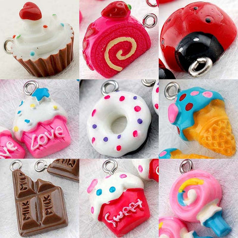 Kawaii Resin Cupcake/Donut/Ice Cream/Rolled Cake/Lollipop/Chocolate/Ladybug Cabochons with Eye Bolt
