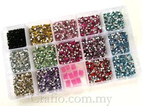 2.5 mm Rhinestones Mixed Color in Storage Box