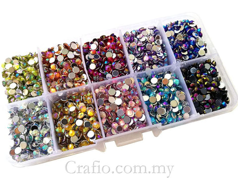 4 mm AB Mixed Color Rhinestones in Storage Box