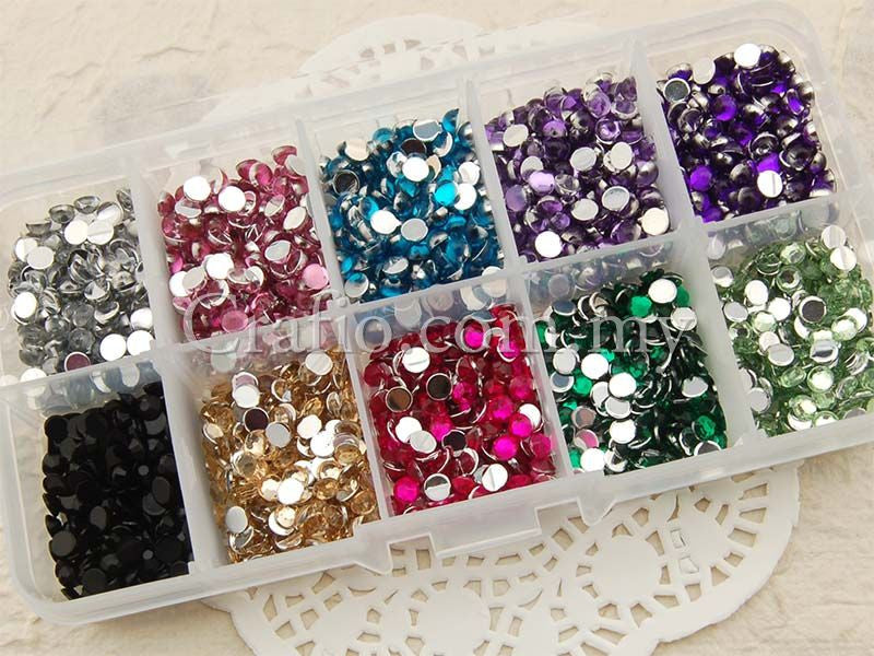 4mm Hemisphere Mixed Color Rhinestones in Storage Box