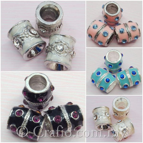 Rhinestone Studded Metal Bead Charming