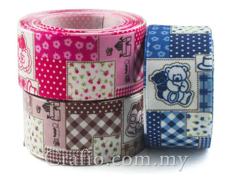 25 mm Cottage Teddy Bear Printed Satin Ribbon