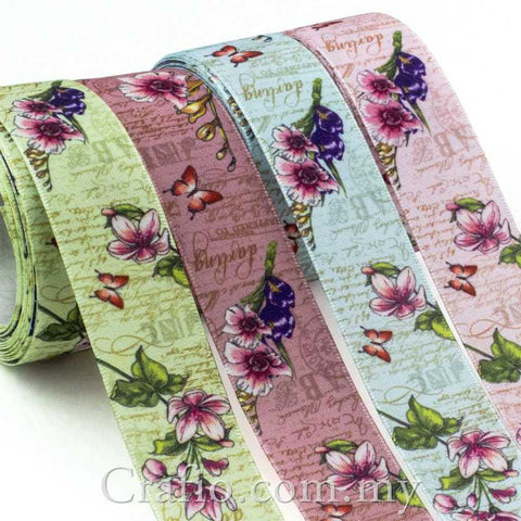 25 mm Vintage Floral Printed Satin Ribbon