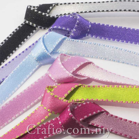 8mm Two Toned Stitched Satin Ribbon