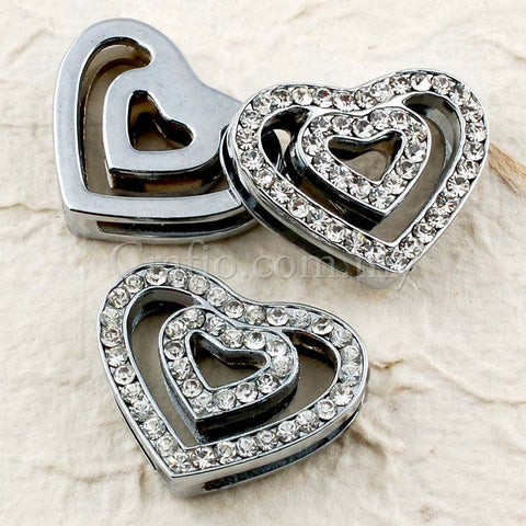 Buckles Rhinestone Studded Double Heart with Wrist Strap