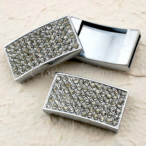 Buckles Rhinestone Studded Solid Rectangle with Wrist Strap