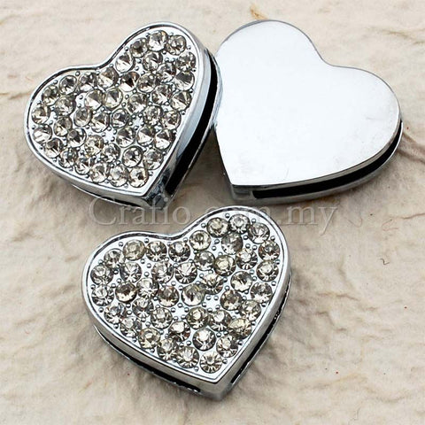 Buckles Rhinestone Studded Solid Heart with Wrist Strap