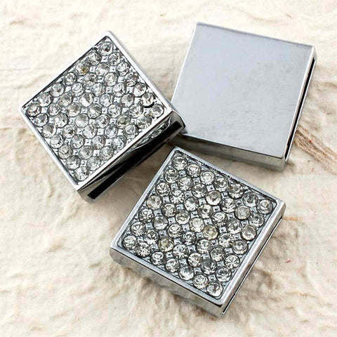Buckles Rhinestone Studded Solid Square with Wrist Strap