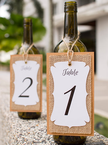 Handmade Table Number White-Burlap-Kraft Triple Layer Wine Bottle Table Number Hang Tags for Rustic Weddings (Number 1 to 15)