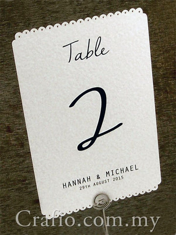 Personalized White Vintage Lace Table Number