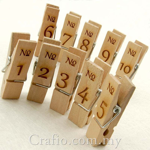 Wooden Pegs with Engraved Numbers