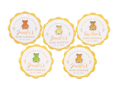 Personalized Baby Shower Favor Gift Tags with Teddy Rhinestones
