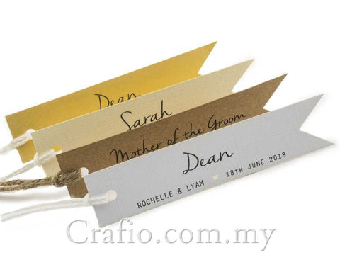 Individually Personalized Guest Names Pennant Flag Favor Tags