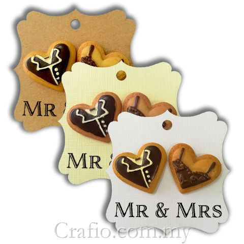 Elegant Square Gift Tags with Double Resin Bride and Groom