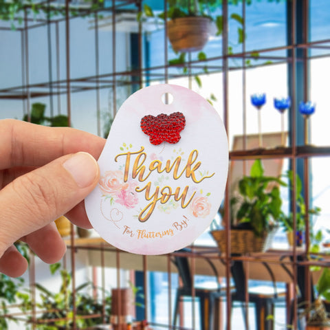 Floral Theme Baby Shower Thank You for Fluttering by Favor Tags with Mixed Color Butterfly Rhinestone