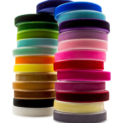 "50 Yards (2 Yards x 25 Colours) 3/8"" 10mm Velvet Ribbon Value Pack"