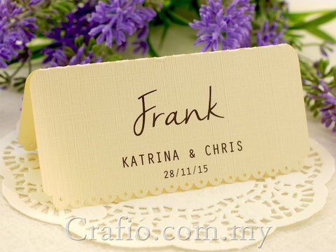 Personalized Ivory Vintage Lace Wedding Place Card