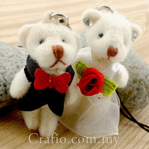 35 mm Mini Bride and Groom Teddy Bear