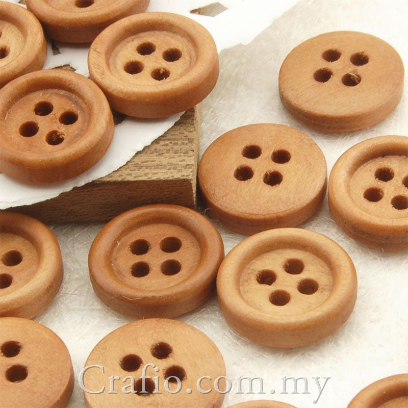 4-Eye Wooden Buttons 11 mm