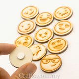 Laser Cut Out Wooden Emoji Multi Design Fridge Magnets