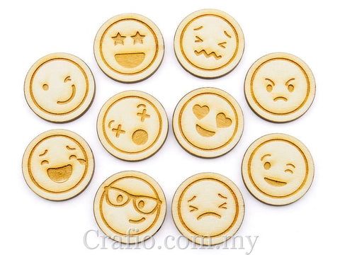 Laser Cut Out Wooden Emoji Tokens