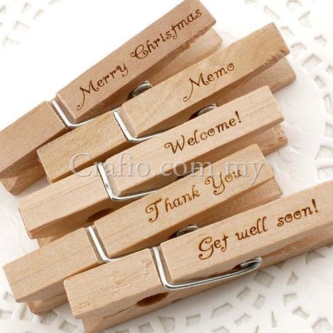 Wooden Pegs with Engraved Greetings/Wishes/Wordings