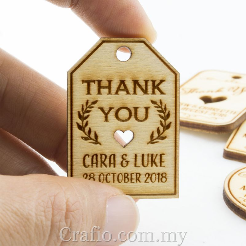 Personalized Natural Wooden Engraved Miniature Wedding Favor Gift