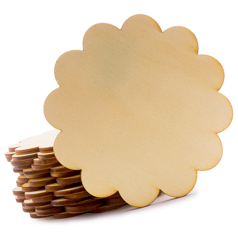 Wooden Scallop Unfinished Coaster for Home, Office, DIY Craft Project