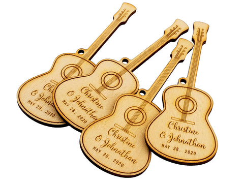 Wooden Laser Engraved Guitar Wedding Party Favor Gift Tags