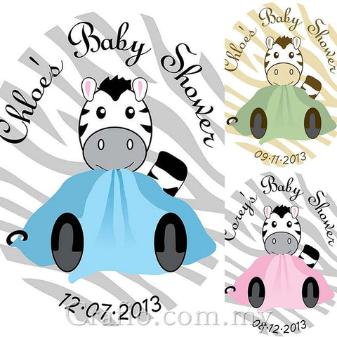 Personalized Zebra Theme Baby Shower Sticker