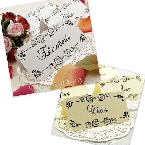 Personalized Damask Place Card