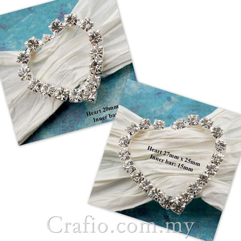 Diamante Rhinestone Heart Buckles