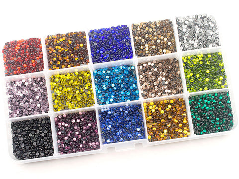 2.8 mm (SS10) Mixed Color Hot Fix Rhinestones in Storage Box
