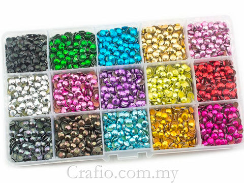 5 mm (SS20) Mixed Colour Hot Fix Rhinestuds in Storage Box