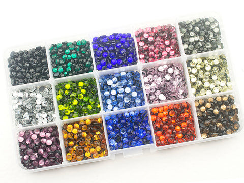 Hot Fix Rhinestones SS20 (5 mm ) Mixed Color in Storage Box - 3000 pieces
