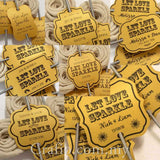 Personalized Let Love Sparkle Gold Wedding Sparkler Tags