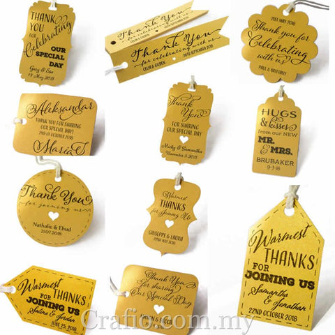 Personalized Gold Wedding Favor Gift Tags with Thread