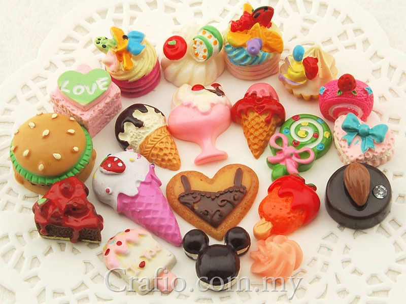 Mixed Kawaii Flat Back Resin Cabochons
