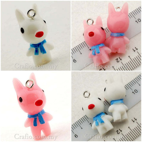Cartoon Dog Resin Cabochon with Eye Bolt