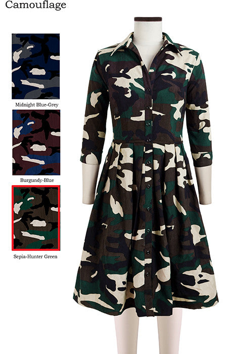 Audrey Dress Shirt Collar 3/4 Sleeve Camouflage in Sepia Hunter Green